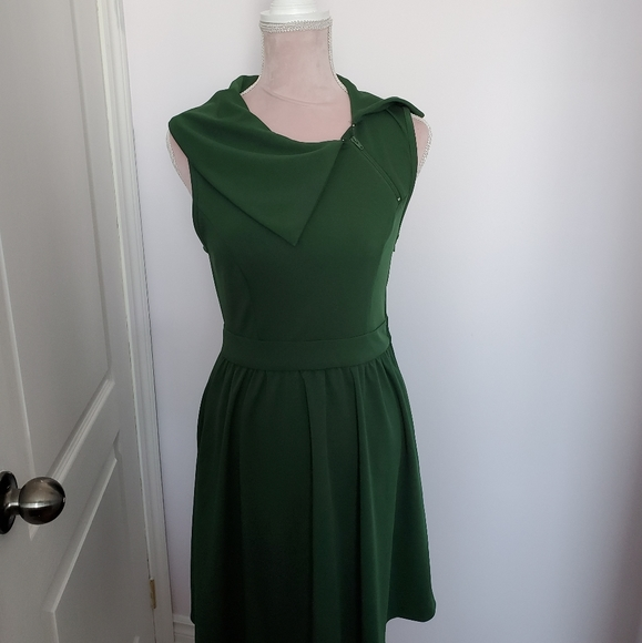 MODCLOTH Retro Green Asymmetrical Collar Dress M